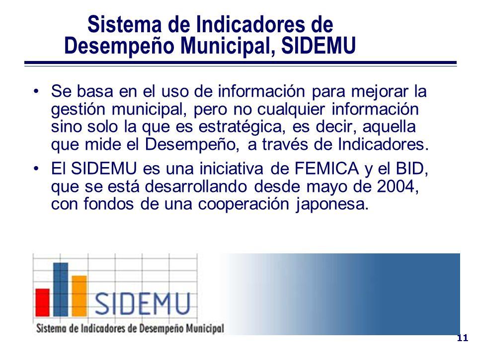 11 Sistema de Indicadores de Desempeño Municipal, SIDEMU Se basa en el uso de información para mejorar la gestión municipal, pero no cualquier informa