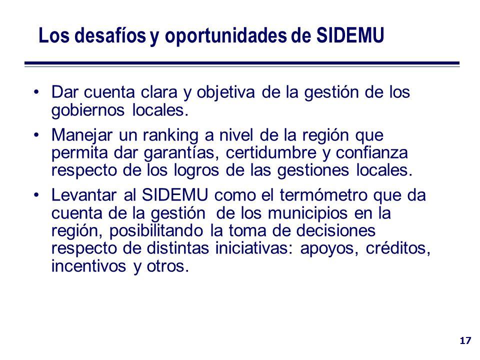17 Los desafíos y oportunidades de SIDEMU Dar cuenta clara y objetiva de la gestión de los gobiernos locales. Manejar un ranking a nivel de la región