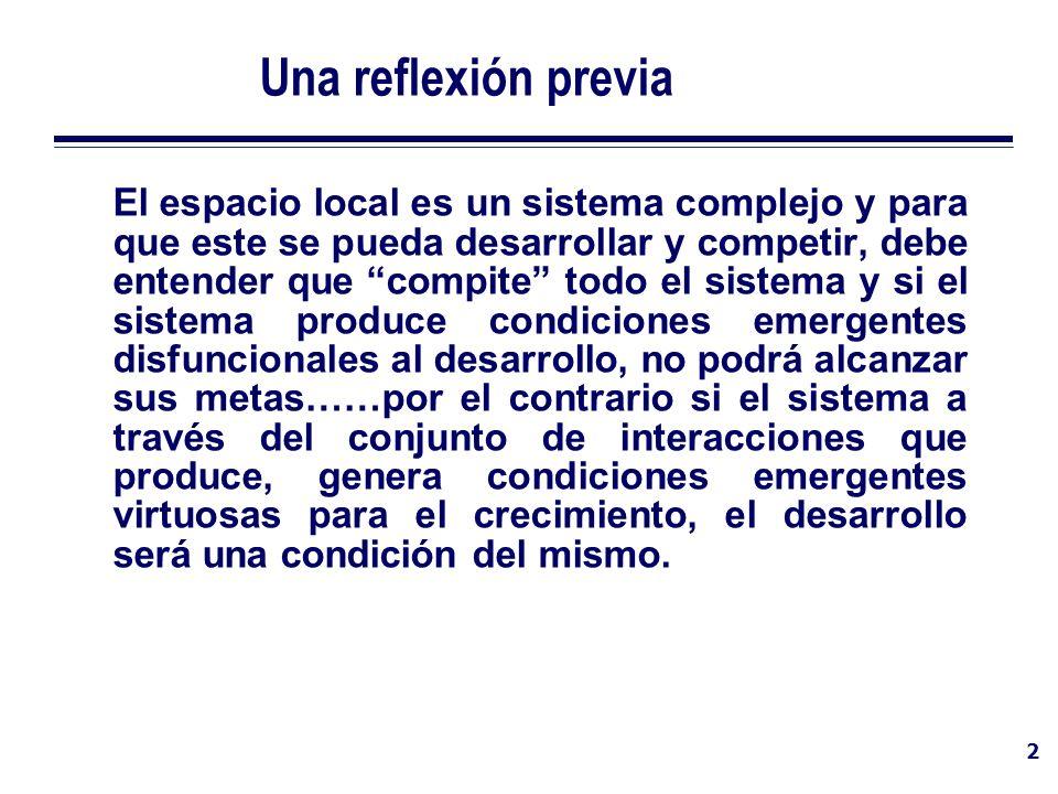 2 Una reflexión previa El espacio local es un sistema complejo y para que este se pueda desarrollar y competir, debe entender que compite todo el sist