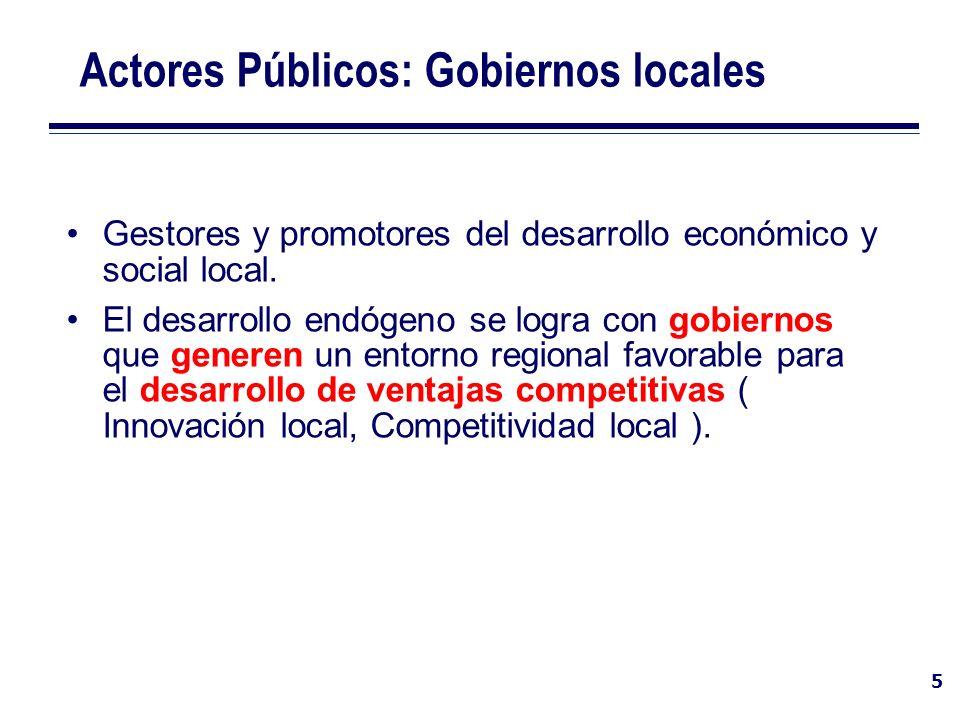 6 Actores Públicos: Gobiernos locales Claves del Buen Gobierno El gobierno local a través de SIDEMU mejora sus procedimientos, mejorando la consecución de sus fines y generando un entorno regional más favorable para el desarrollo de condiciones de innovación y competitividad.