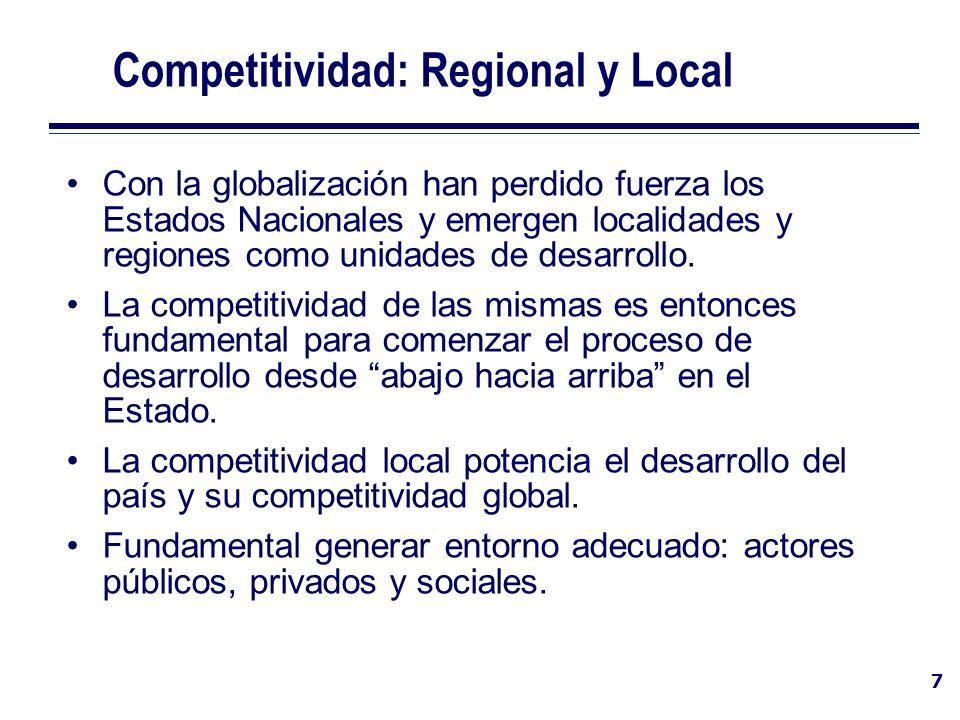 7 Competitividad: Regional y Local Con la globalización han perdido fuerza los Estados Nacionales y emergen localidades y regiones como unidades de de