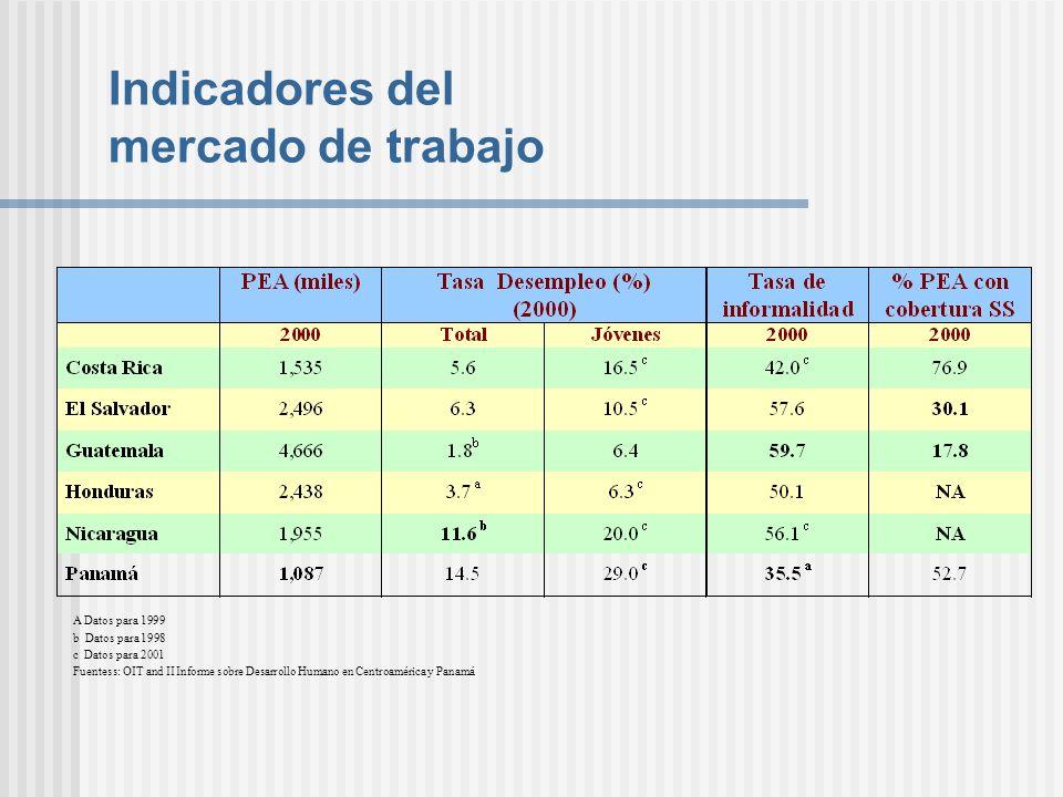 Indicadores del mercado de trabajo A Datos para 1999 b Datos para 1998 c Datos para 2001 Fuentess: OIT and II Informe sobre Desarrollo Humano en Centr