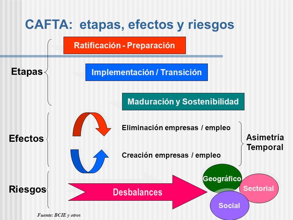 CAFTA: etapas, efectos y riesgos Ratificación - Preparación Implementación / Transición Maduración y Sostenibilidad Etapas Eliminación empresas / empl