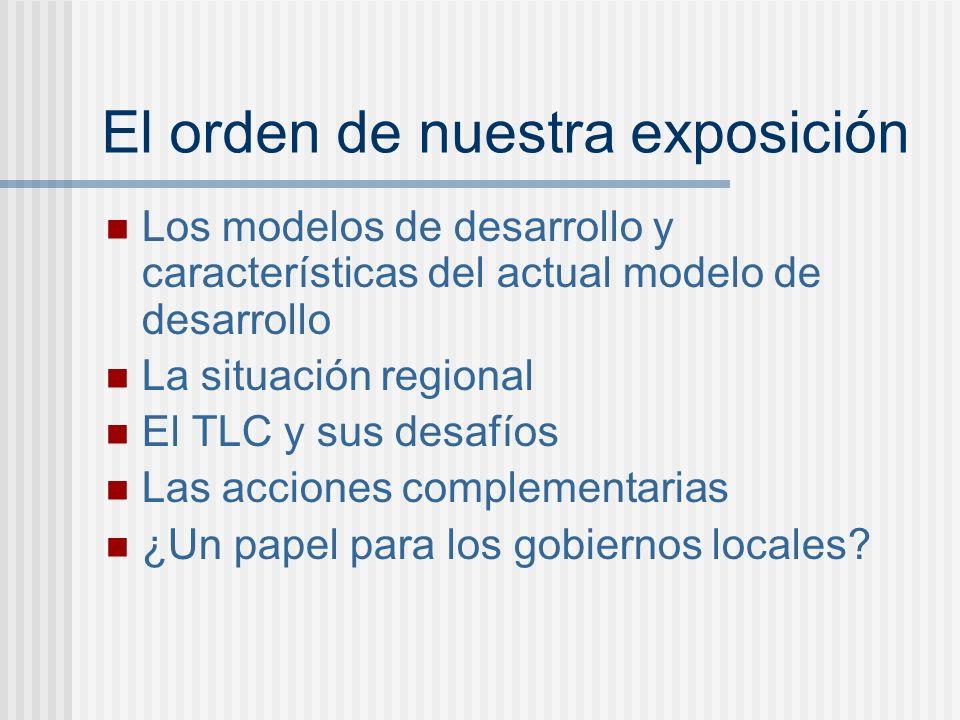 El orden de nuestra exposición Los modelos de desarrollo y características del actual modelo de desarrollo La situación regional El TLC y sus desafíos