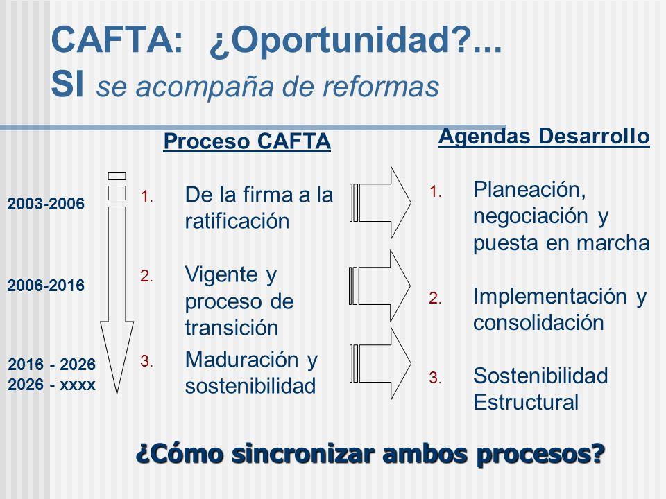CAFTA: ¿Oportunidad?... SI se acompaña de reformas Agendas Desarrollo 1. Planeación, negociación y puesta en marcha 2. Implementación y consolidación