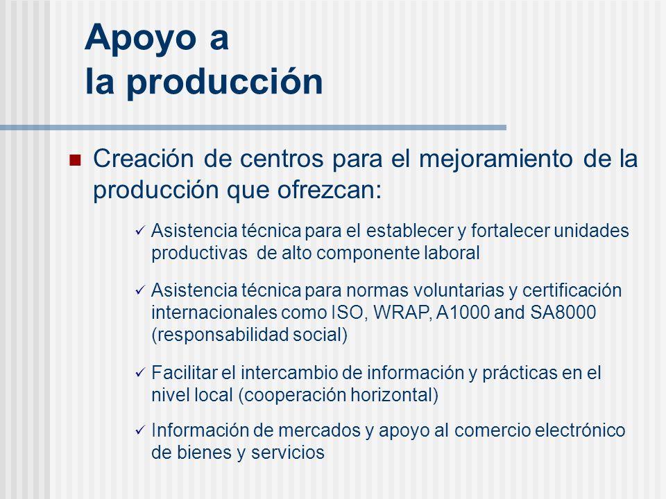 Apoyo a la producción Creación de centros para el mejoramiento de la producción que ofrezcan: Asistencia técnica para el establecer y fortalecer unida