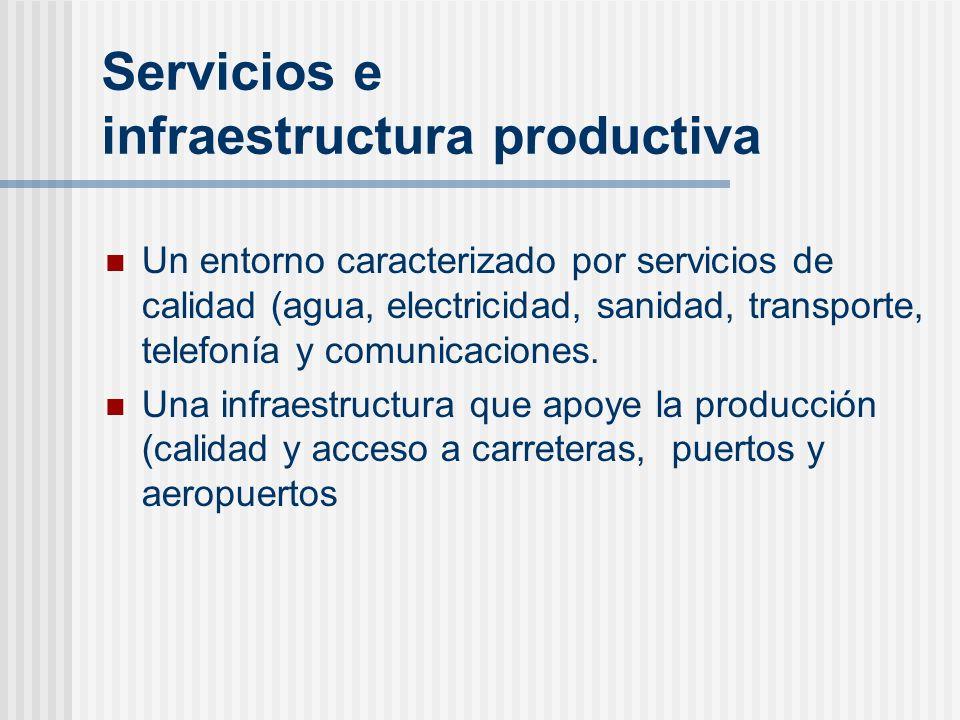 Servicios e infraestructura productiva Un entorno caracterizado por servicios de calidad (agua, electricidad, sanidad, transporte, telefonía y comunic