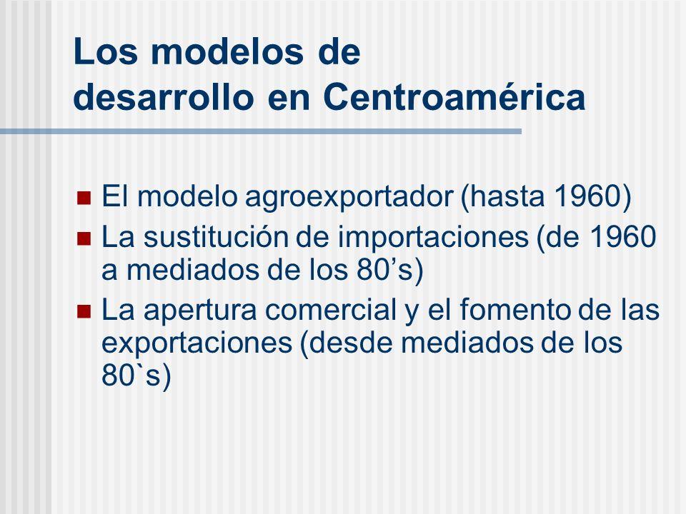 Los modelos de desarrollo en Centroamérica El modelo agroexportador (hasta 1960) La sustitución de importaciones (de 1960 a mediados de los 80s) La ap