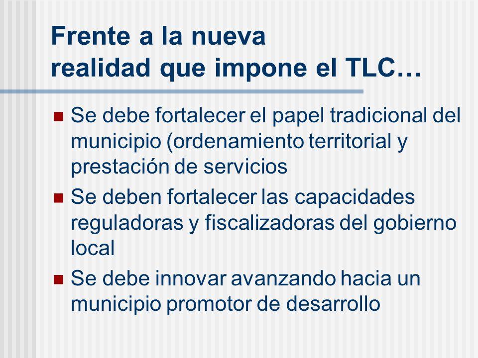 Frente a la nueva realidad que impone el TLC… Se debe fortalecer el papel tradicional del municipio (ordenamiento territorial y prestación de servicio