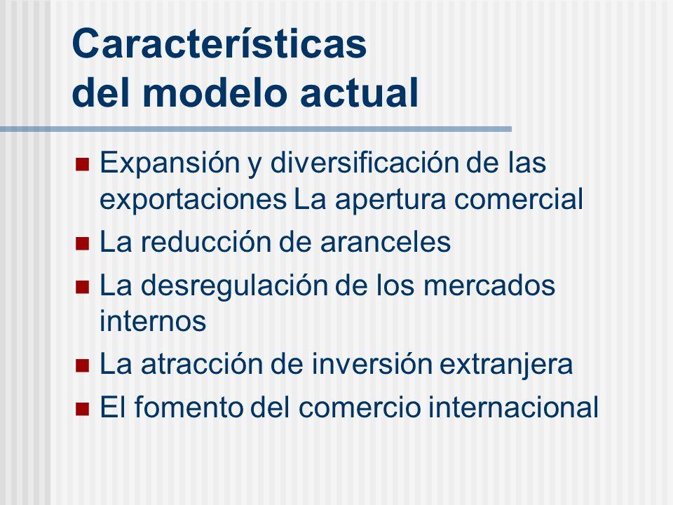 Características del modelo actual Expansión y diversificación de las exportaciones La apertura comercial La reducción de aranceles La desregulación de