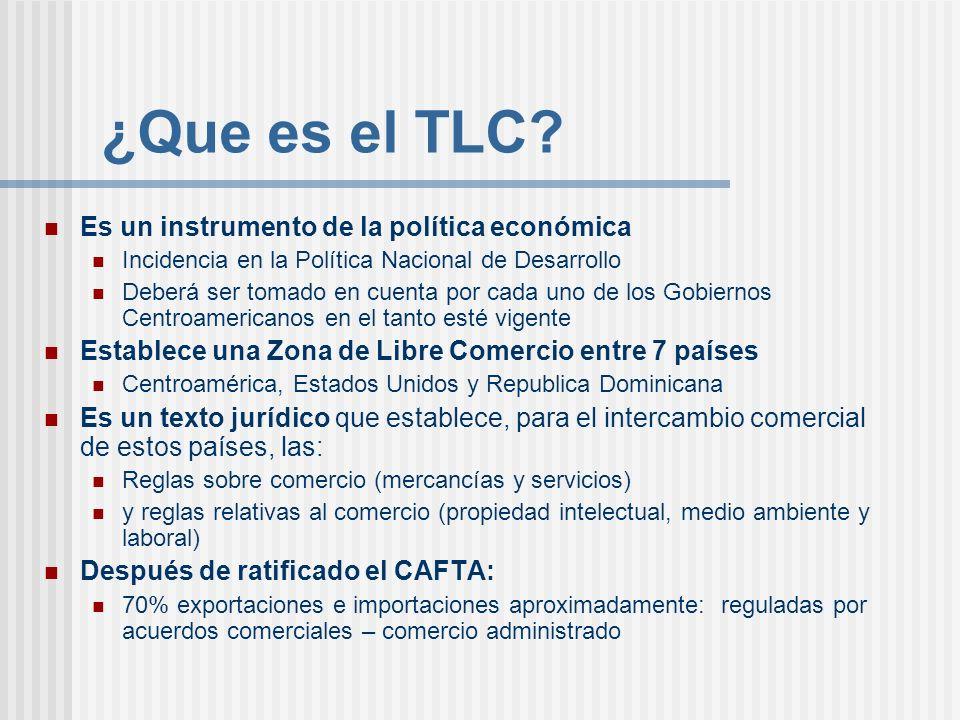 ¿Que es el TLC? Es un instrumento de la política económica Incidencia en la Política Nacional de Desarrollo Deberá ser tomado en cuenta por cada uno d