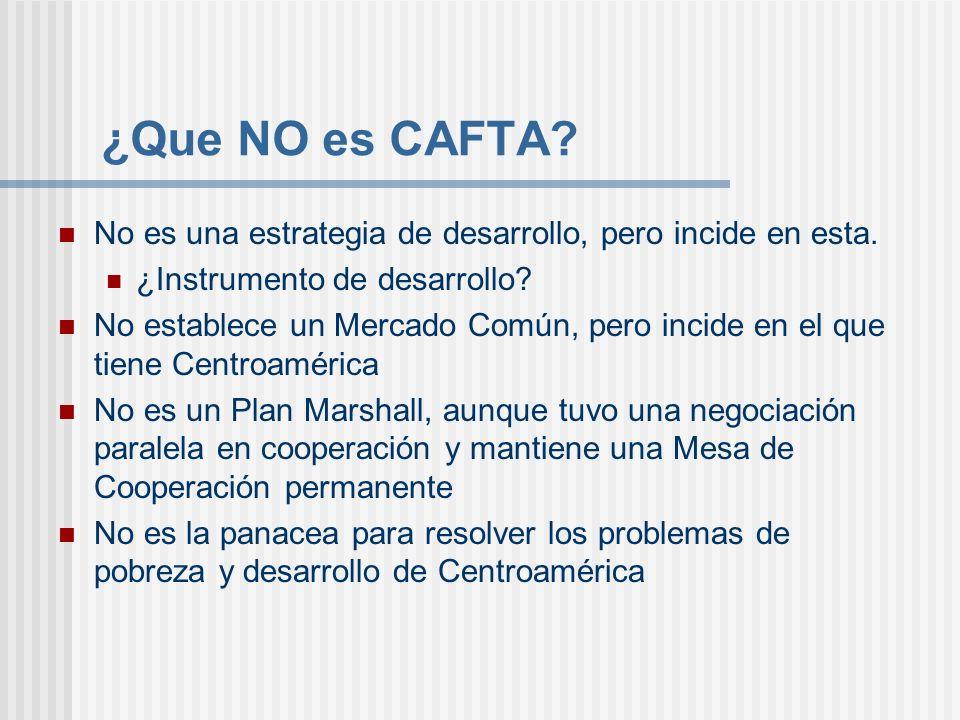¿Que NO es CAFTA? No es una estrategia de desarrollo, pero incide en esta. ¿Instrumento de desarrollo? No establece un Mercado Común, pero incide en e