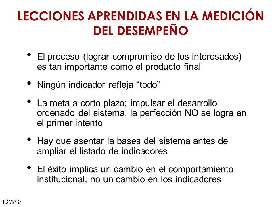 ICMA© LECCIONES APRENDIDAS EN LA MEDICIÓN DEL DESEMPEÑO El proceso (lograr compromiso de los interesados) es tan importante como el producto final Nin