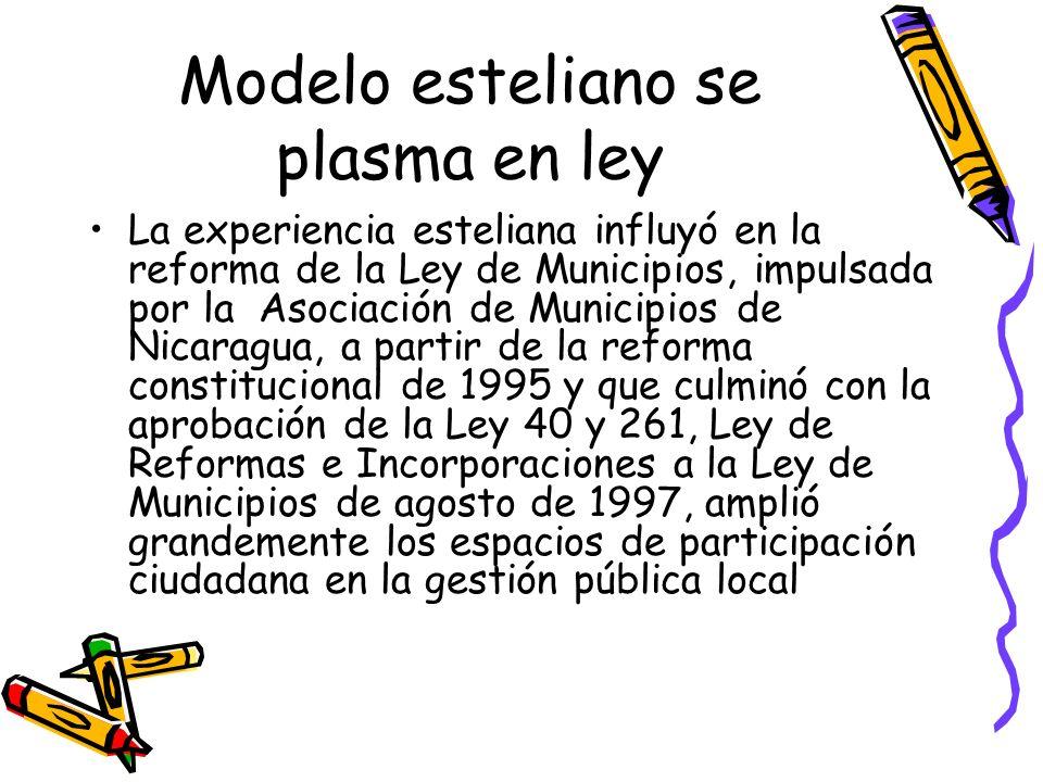 Modelo esteliano se plasma en ley La experiencia esteliana influyó en la reforma de la Ley de Municipios, impulsada por la Asociación de Municipios de