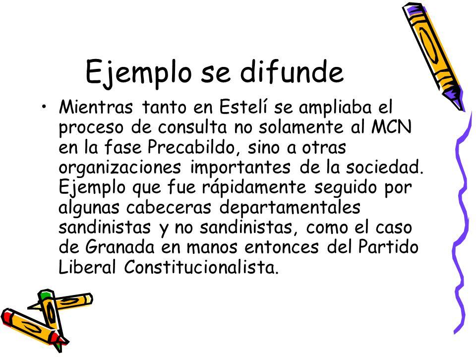 Ejemplo se difunde Mientras tanto en Estelí se ampliaba el proceso de consulta no solamente al MCN en la fase Precabildo, sino a otras organizaciones