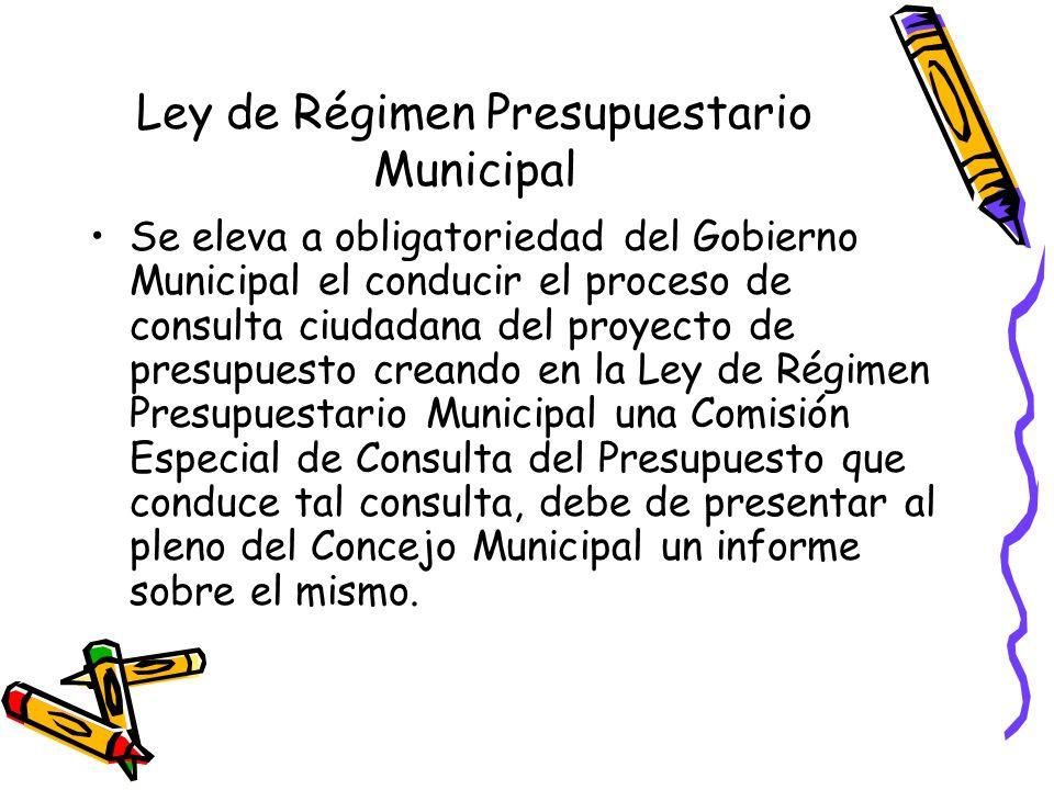 Ley de Régimen Presupuestario Municipal Se eleva a obligatoriedad del Gobierno Municipal el conducir el proceso de consulta ciudadana del proyecto de