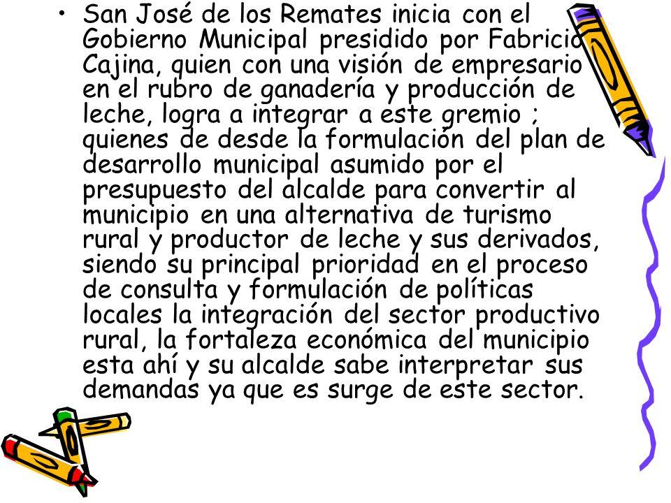 San José de los Remates inicia con el Gobierno Municipal presidido por Fabricio Cajina, quien con una visión de empresario en el rubro de ganadería y