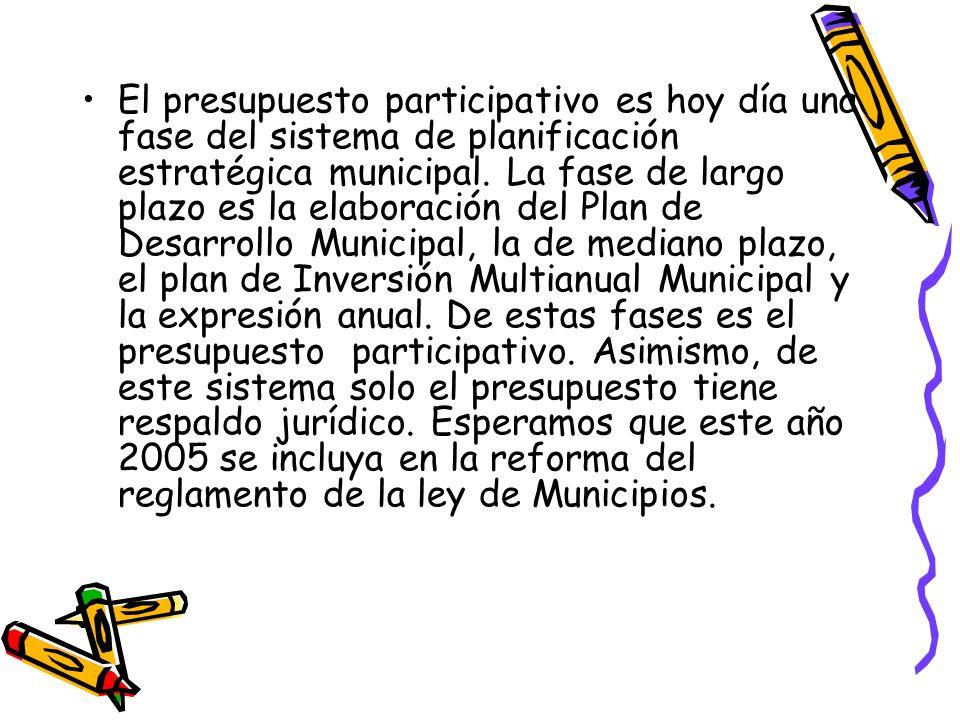 El presupuesto participativo es hoy día una fase del sistema de planificación estratégica municipal. La fase de largo plazo es la elaboración del Plan