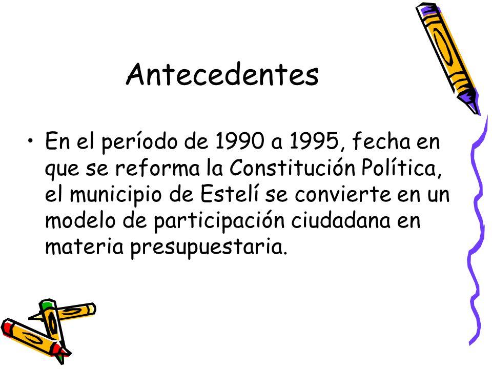Antecedentes En el período de 1990 a 1995, fecha en que se reforma la Constitución Política, el municipio de Estelí se convierte en un modelo de parti