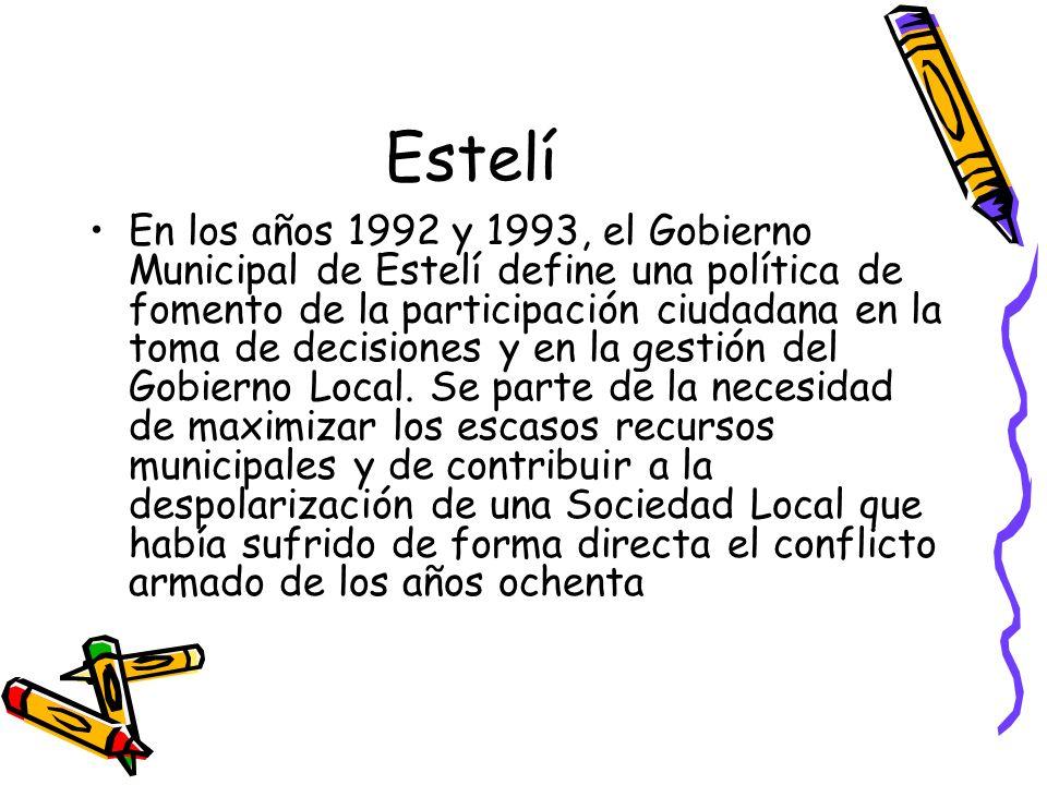Estelí En los años 1992 y 1993, el Gobierno Municipal de Estelí define una política de fomento de la participación ciudadana en la toma de decisiones