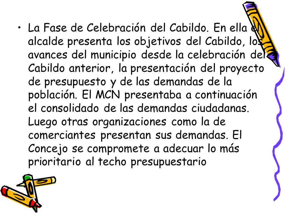 La Fase de Celebración del Cabildo. En ella el alcalde presenta los objetivos del Cabildo, los avances del municipio desde la celebración del Cabildo