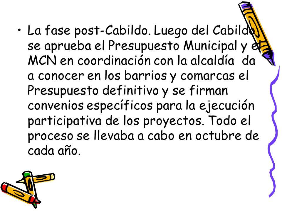 La fase post-Cabildo. Luego del Cabildo se aprueba el Presupuesto Municipal y el MCN en coordinación con la alcaldía da a conocer en los barrios y com