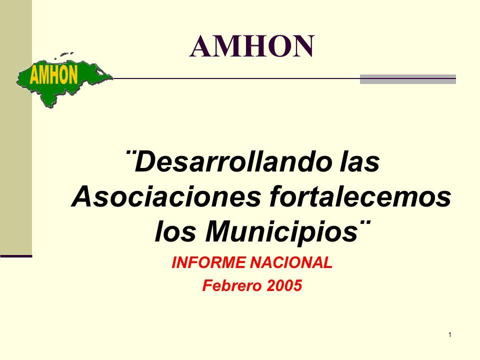 1 AMHON ¨Desarrollando las Asociaciones fortalecemos los Municipios¨ INFORME NACIONAL Febrero 2005