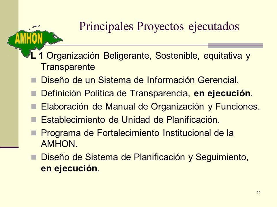 11 Principales Proyectos ejecutados L 1 Organización Beligerante, Sostenible, equitativa y Transparente Diseño de un Sistema de Información Gerencial.