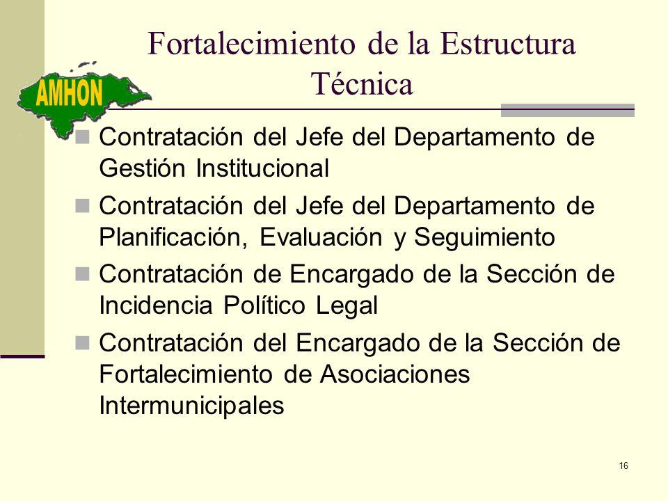 16 Fortalecimiento de la Estructura Técnica Contratación del Jefe del Departamento de Gestión Institucional Contratación del Jefe del Departamento de