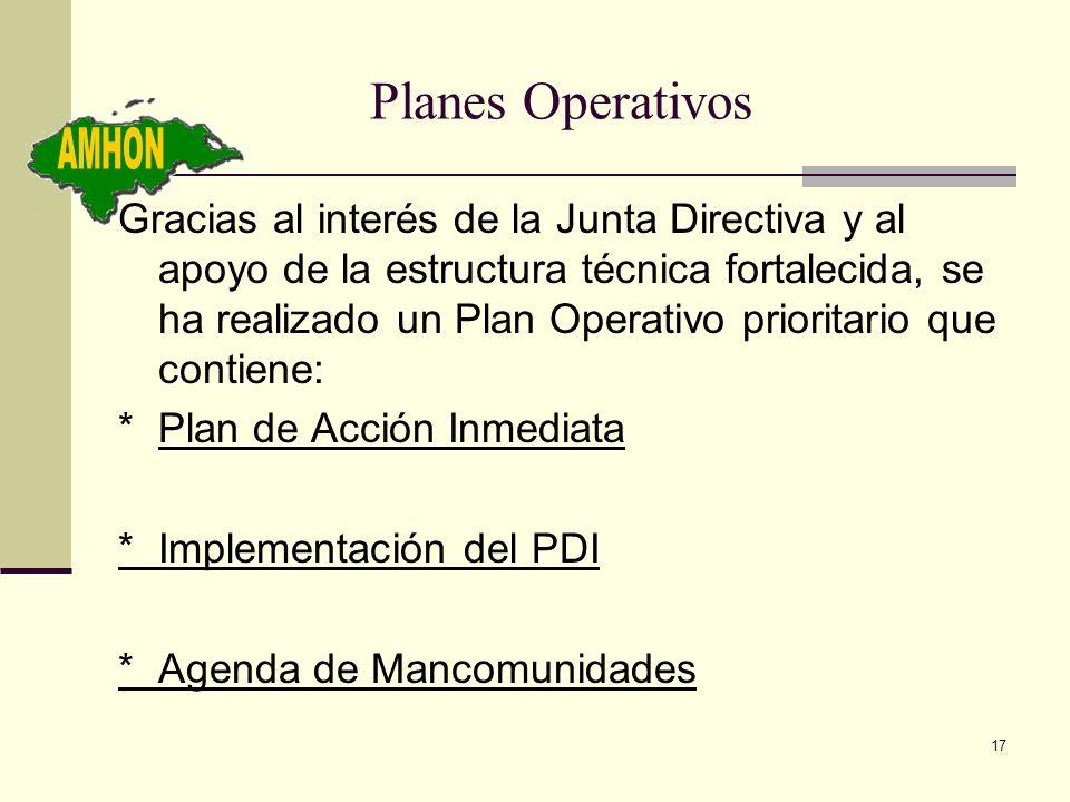 17 Planes Operativos Gracias al interés de la Junta Directiva y al apoyo de la estructura técnica fortalecida, se ha realizado un Plan Operativo prior