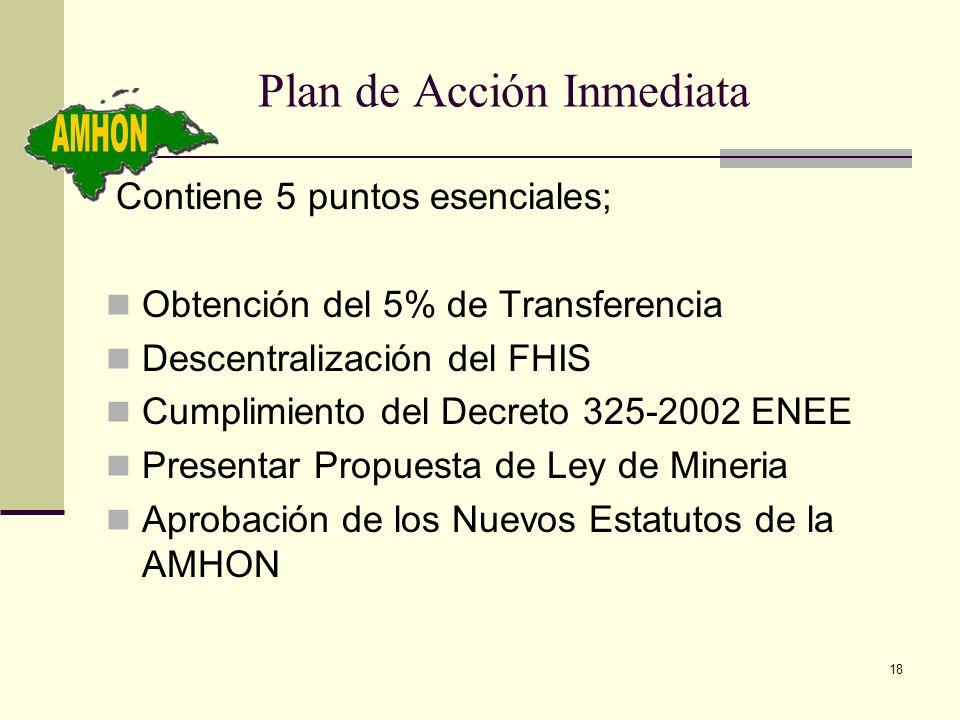 18 Plan de Acción Inmediata Contiene 5 puntos esenciales; Obtención del 5% de Transferencia Descentralización del FHIS Cumplimiento del Decreto 325-20