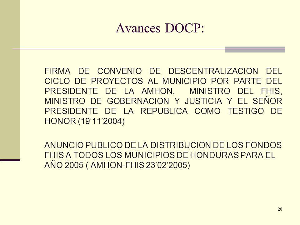 20 Avances DOCP: FIRMA DE CONVENIO DE DESCENTRALIZACION DEL CICLO DE PROYECTOS AL MUNICIPIO POR PARTE DEL PRESIDENTE DE LA AMHON, MINISTRO DEL FHIS, M