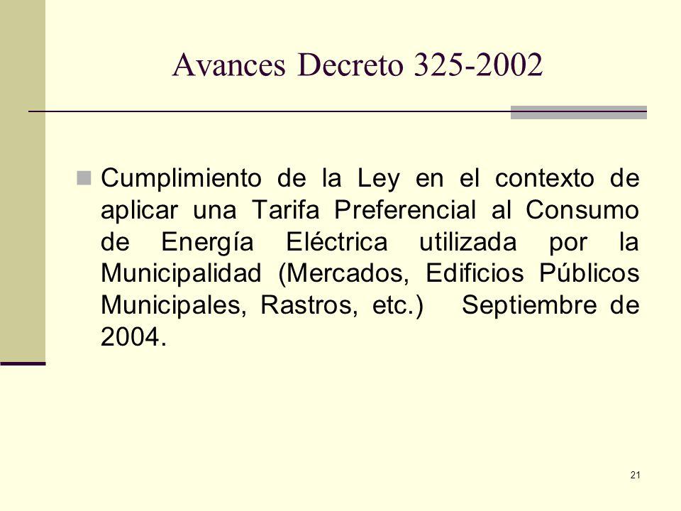 21 Avances Decreto 325-2002 Cumplimiento de la Ley en el contexto de aplicar una Tarifa Preferencial al Consumo de Energía Eléctrica utilizada por la