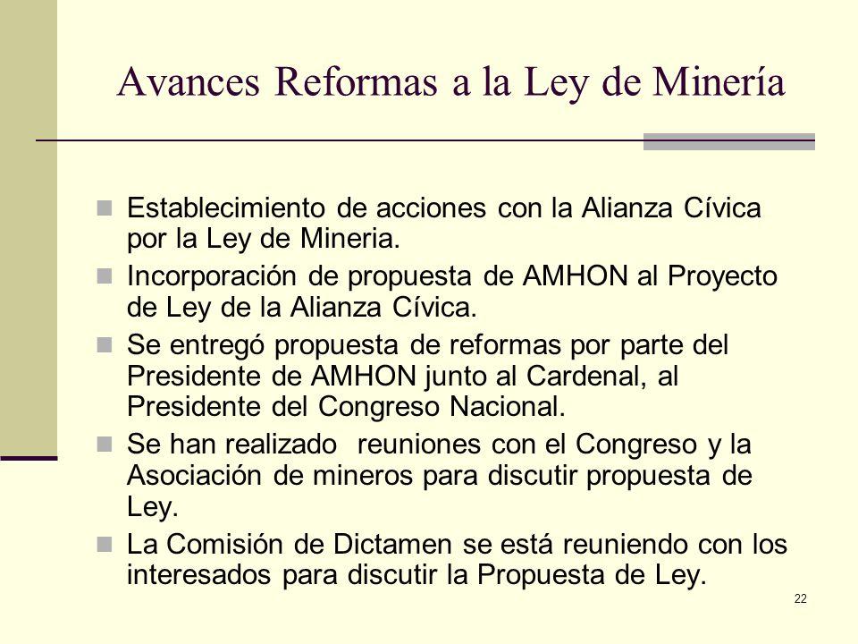 22 Avances Reformas a la Ley de Minería Establecimiento de acciones con la Alianza Cívica por la Ley de Mineria. Incorporación de propuesta de AMHON a