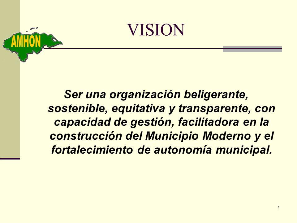 7 VISION Ser una organización beligerante, sostenible, equitativa y transparente, con capacidad de gestión, facilitadora en la construcción del Munici