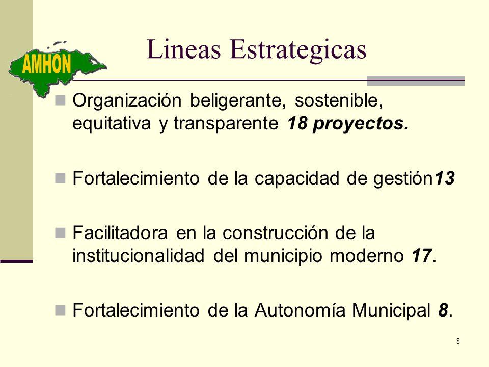 8 Lineas Estrategicas Organización beligerante, sostenible, equitativa y transparente 18 proyectos. Fortalecimiento de la capacidad de gestión13 Facil