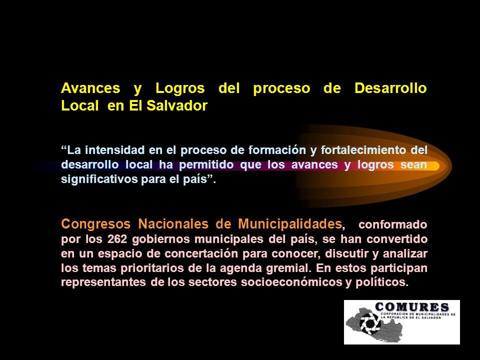 Avances y Logros del proceso de Desarrollo Local en El Salvador La intensidad en el proceso de formación y fortalecimiento del desarrollo local ha per