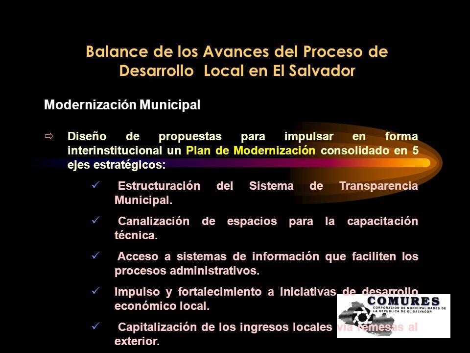 Balance de los Avances del Proceso de Desarrollo Local en El Salvador Modernización Municipal Diseño de propuestas para impulsar en forma interinstitu