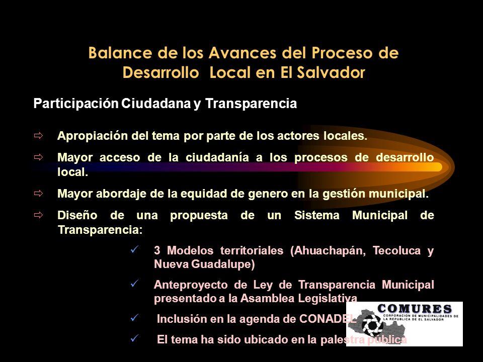Balance de los Avances del Proceso de Desarrollo Local en El Salvador Participación Ciudadana y Transparencia Apropiación del tema por parte de los ac