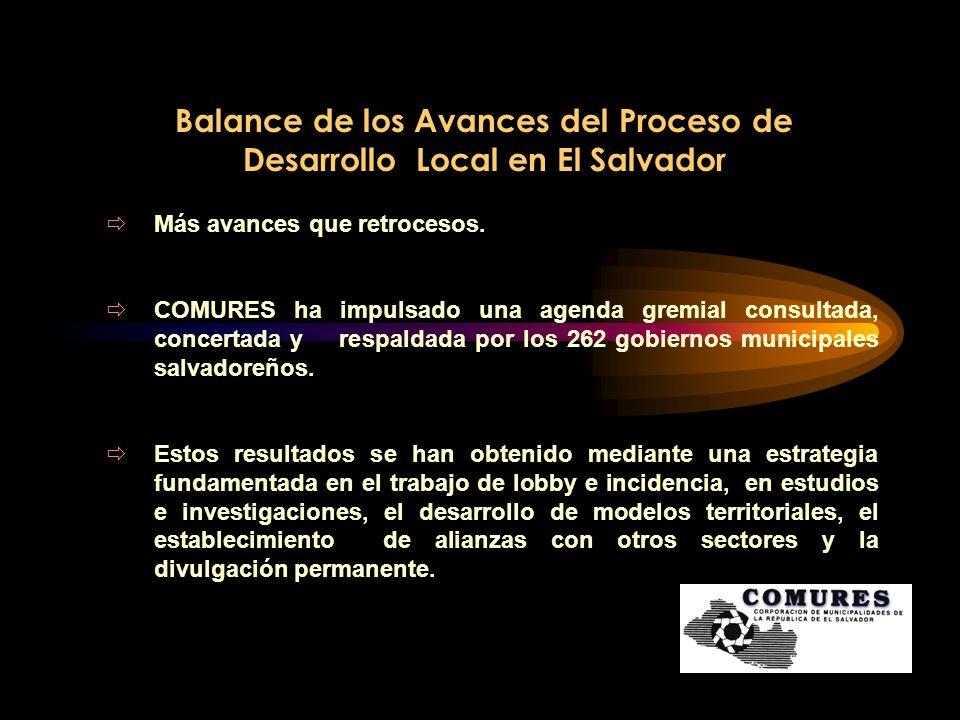 Balance de los Avances del Proceso de Desarrollo Local en El Salvador La agenda de COMURES se ha impulsado en dos dimensiones: Estratégica Política Funcional Administrativa Dimensión estratégica política, a través de la que COMURES en representación de los intereses municipales y en forma consensada ha presentado posicionamientos institucionales o pronunciamientos municipales.