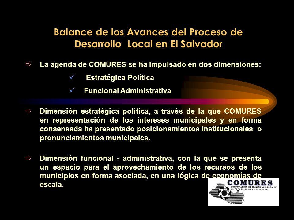 Balance de los Avances del Proceso de Desarrollo Local en El Salvador La agenda de COMURES se ha impulsado en dos dimensiones: Estratégica Política Fu