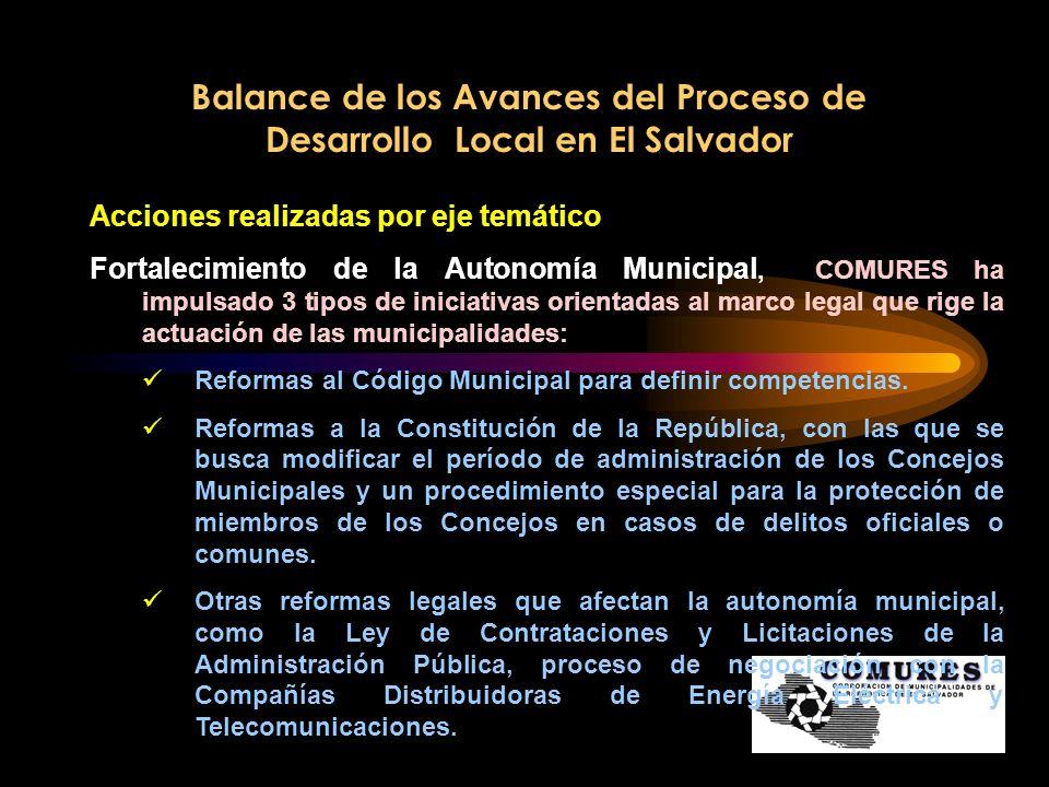 Balance de los Avances del Proceso de Desarrollo Local en El Salvador Acciones realizadas por eje temático Fortalecimiento de la Autonomía Municipal,