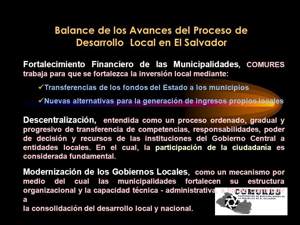 Balance de los Avances del Proceso de Desarrollo Local en El Salvador Fortalecimiento Institucional del Gremio COMURES se ha convertido en un espacio de asesoría técnica en el fortalecimiento y modernización institucional.