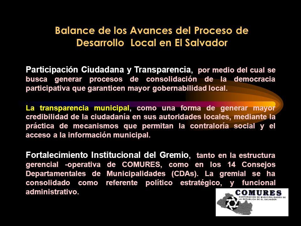 Balance de los Avances del Proceso de Desarrollo Local en El Salvador Por la coyuntura la agenda a la agenda se han incorporado otros temas, como: Desarrollo Económico Local Ordenamiento Territorial Equidad de Genero y Protección a la Niñez y Adolescencia