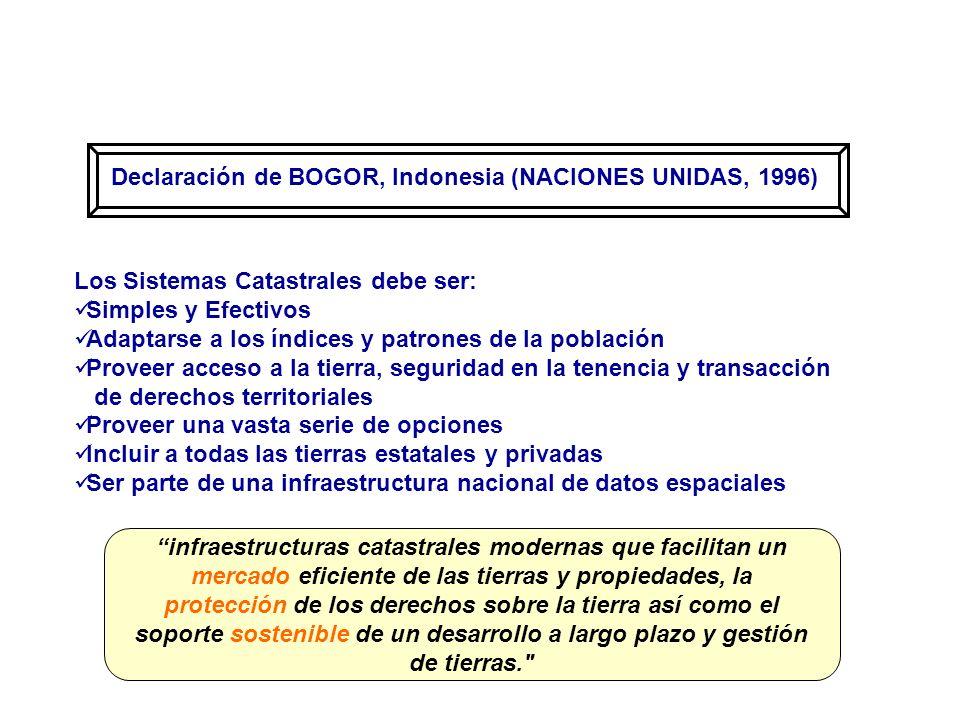 Declaración de BOGOR, Indonesia (NACIONES UNIDAS, 1996) Los Sistemas Catastrales debe ser: Simples y Efectivos Adaptarse a los índices y patrones de l