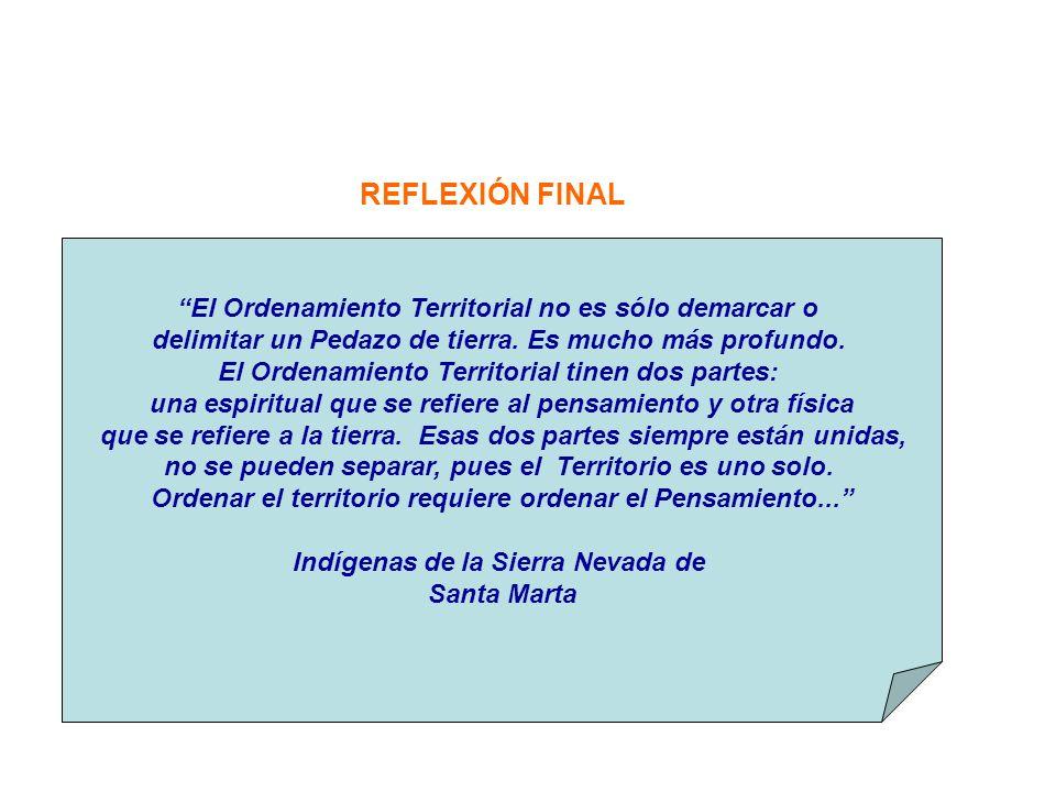 REFLEXIÓN FINAL El Ordenamiento Territorial no es sólo demarcar o delimitar un Pedazo de tierra. Es mucho más profundo. El Ordenamiento Territorial ti