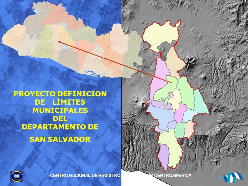 El objetivo principal de la redefinición de los límites del departamento de San Salvador es ordenar técnicamente las fronteras de los municipios, realizándolo de forma precisa, mediante el uso de las herramientas de las que dispone el CNR, las cuales ayudarán a definir en forma práctica y objetiva las propuestas de diseño de los límites municipales.