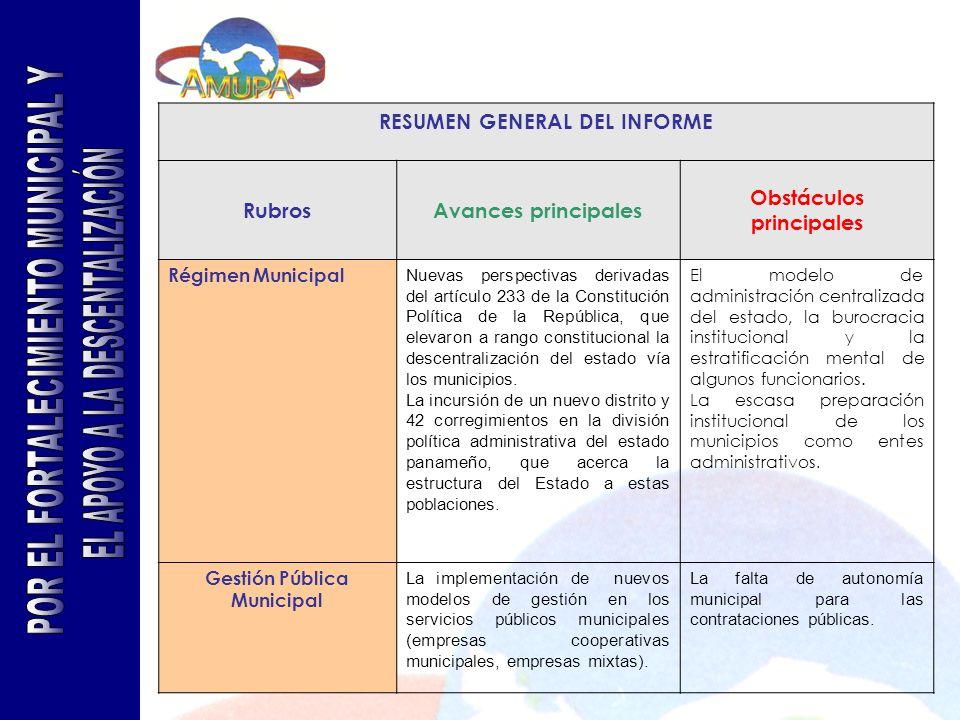 RESUMEN GENERAL DEL INFORME RubrosAvances principales Obstáculos principales Régimen Municipal Nuevas perspectivas derivadas del artículo 233 de la Co