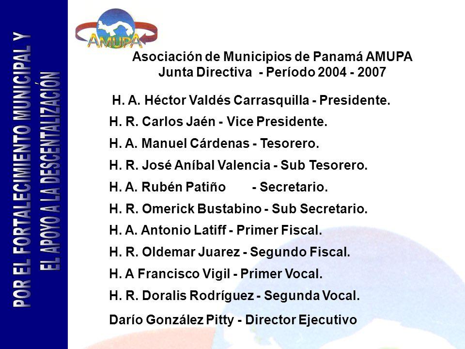 Asociación de Municipios de Panamá AMUPA Junta Directiva - Período 2004 - 2007 H. A. Héctor Valdés Carrasquilla - Presidente. H. R. Carlos Jaén - Vice