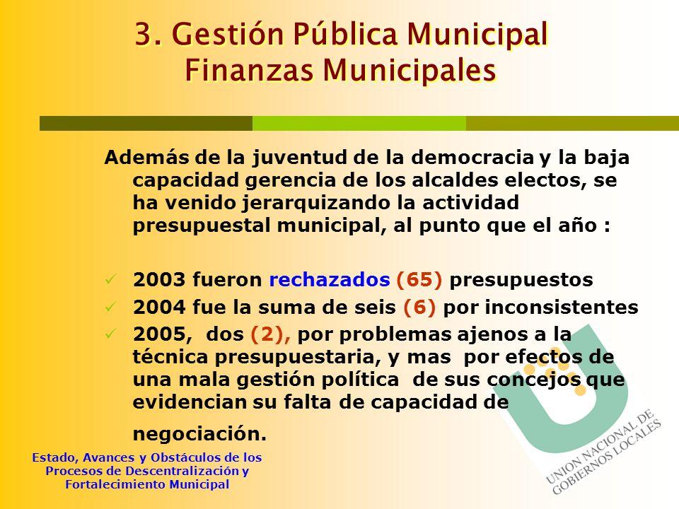 Estado, Avances y Obstáculos de los Procesos de Descentralización y Fortalecimiento Municipal 3. Gestión Pública Municipal Finanzas Municipales Además
